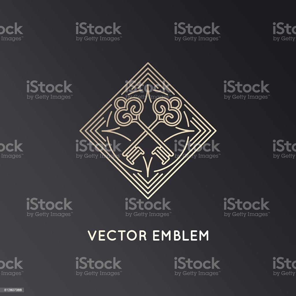 Vector logo design template in trendy linear style with keys vector art illustration