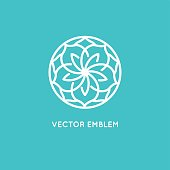 Vector logo design template and monogram concept in trendy linear style - rose flower - sign for cosmetics and beauty packaging
