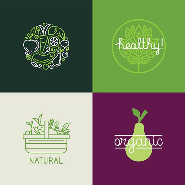 vektor-logo-design-vorlage - bio lebensmittel stock-grafiken, -clipart, -cartoons und -symbole