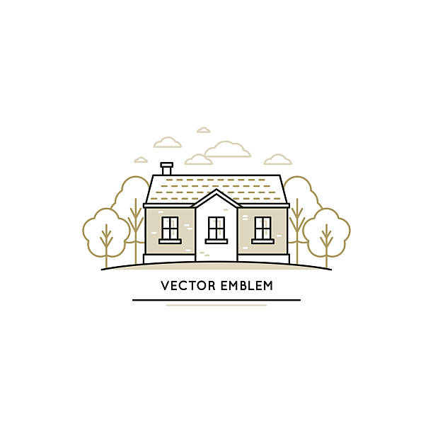 Vector logo design template Vector logo design template in trendy linear style - summer cottage house with trees and clouds villa stock illustrations