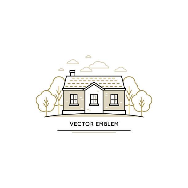 vektor-logo-design-vorlage - villas stock-grafiken, -clipart, -cartoons und -symbole