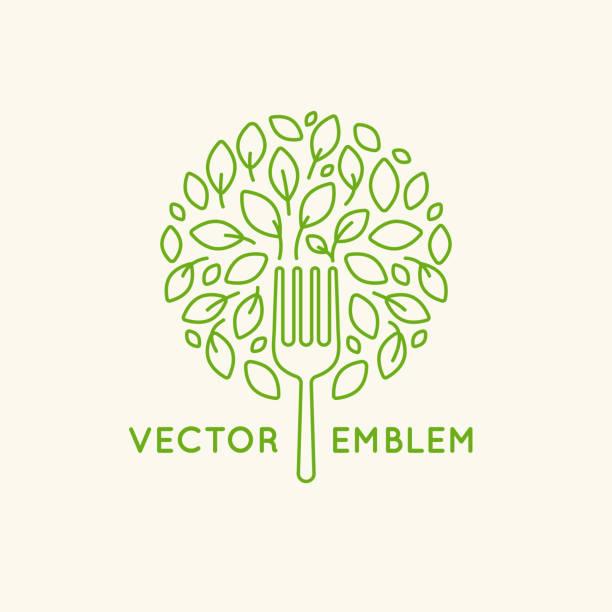 Modèle de conception de logo Vector - concept alimentaire végétalien - Illustration vectorielle