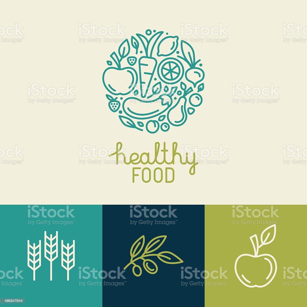 Vetor logotipo modelo de design com ícones de frutas e legumes - ilustração de arte em vetor