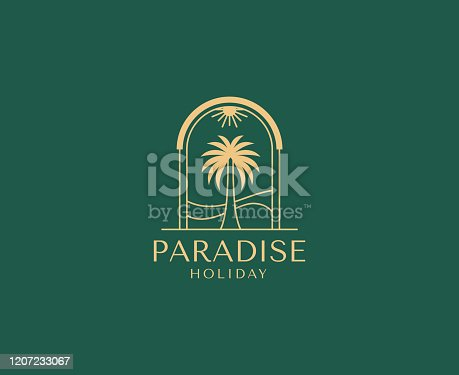istock Vector logo design template with palm tree - abstract summer and vacation badge and emblem for holiday rentals, travel services, tropical spa and beauty studios 1207233067