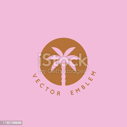istock Vector logo design template with palm tree 1190198698