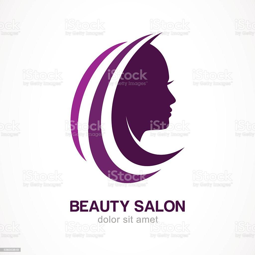Vector logo design template. Woman's face silhouette. vector art illustration