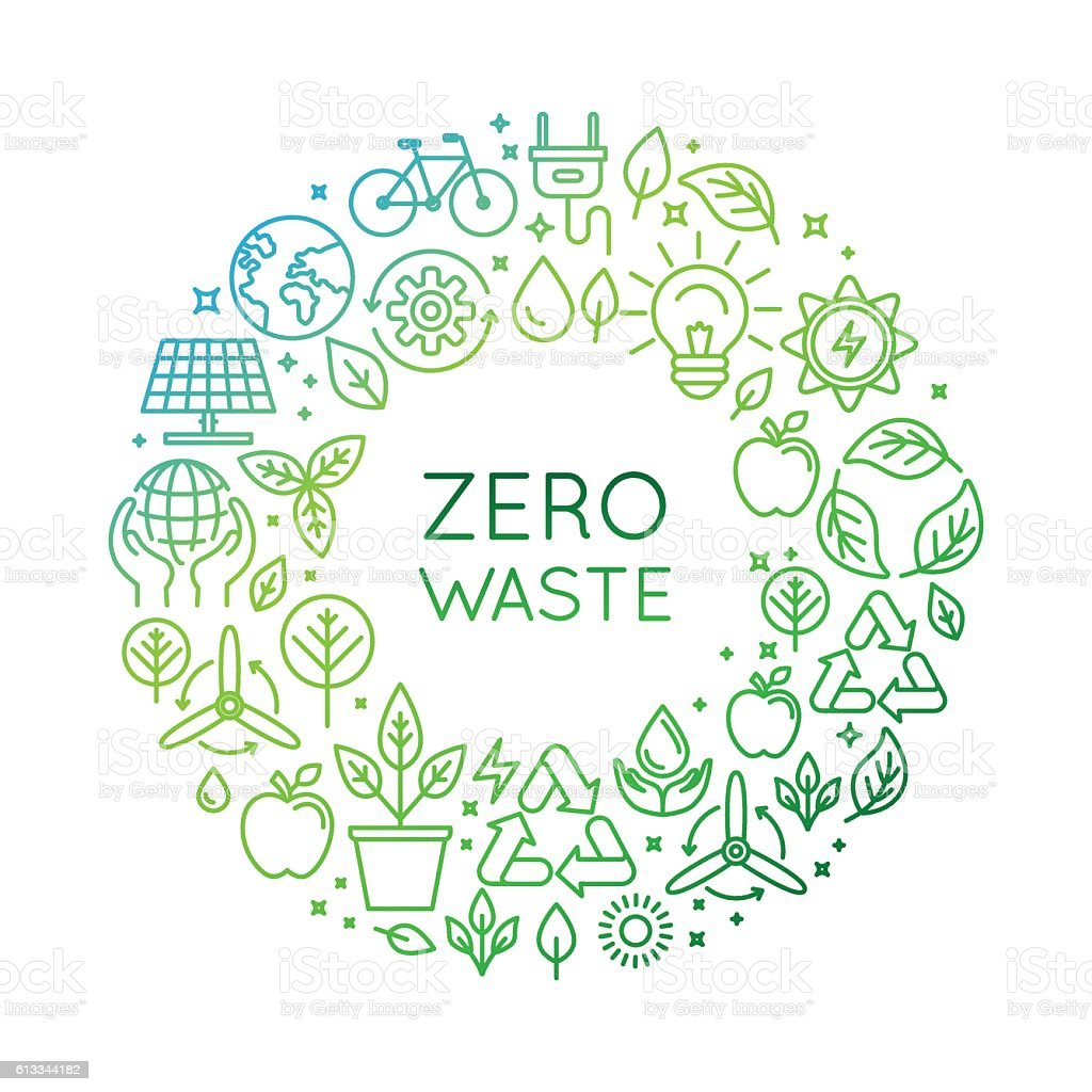 Vector logo design template - zero waste concept vector art illustration