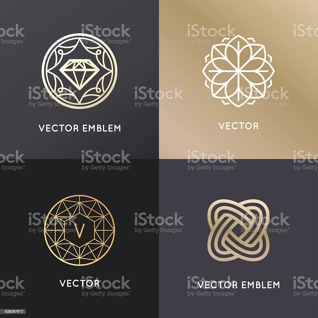 Vector logo design templates and badges in trendy linear style vector art illustration