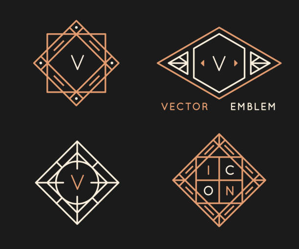 Vector logo design templates and monogram design elements in simple minimal style vector art illustration