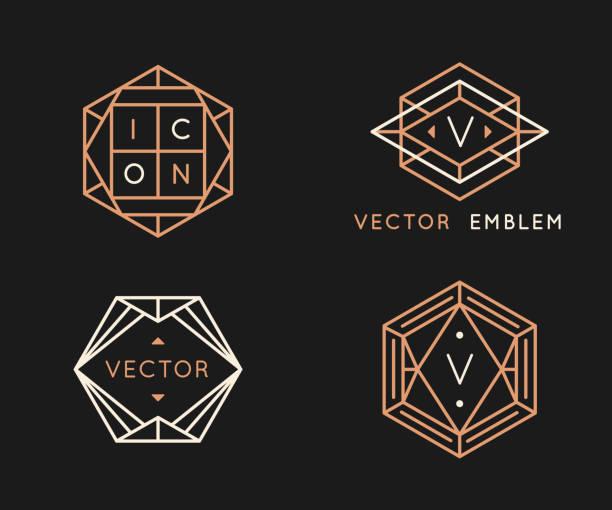 szablony projektów logo wektora i monogramowe elementy projektu w prostym minimalnym stylu z miejscem na kopiowanie tekstu - insygnia stock illustrations