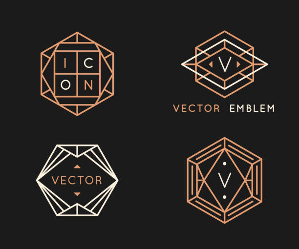 Vector logo design templates and monogram design elements in simple minimal style with copy space for text vector art illustration