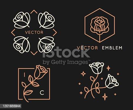 istock Vector logo design templates and monogram design elements in simple minimal style with roses 1201655944