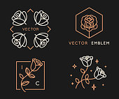 Vector logo design templates and monogram design elements in simple minimal style with roses