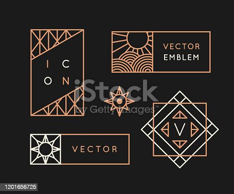 Vector logo design templates and monogram design elements in simple minimal style with copy space for text - geometrical abstract emblems and signs