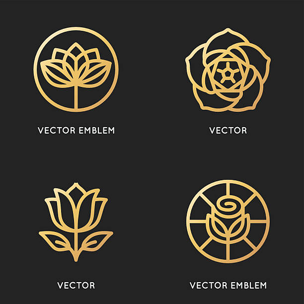 Vector logo design templates and signs in trendy linear style – Vektorgrafik