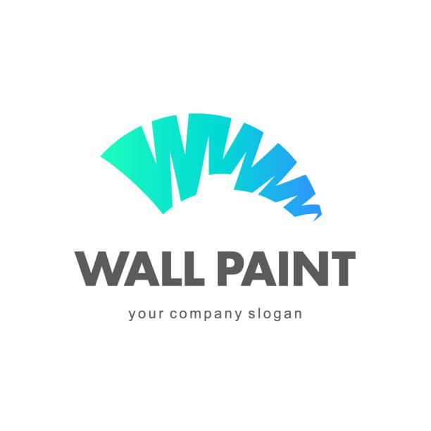 illustrations, cliparts, dessins animés et icônes de création de logo vectoriel. peinture murale, décoration à la maison - logo peintre en batiment