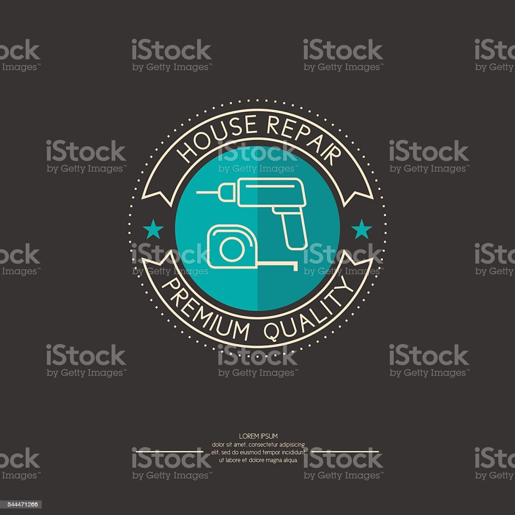 Vector logo for house repair with blue circle vector art illustration