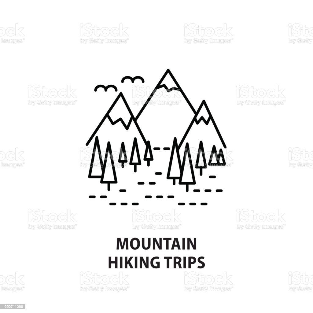 Vector logo for mountain hiking trips isolated on white vector art illustration