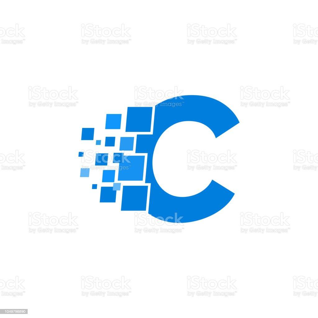 C Logo: Vector Logo Letter C Blue Blocks Cubes Stock Illustration