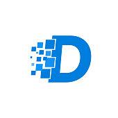 Vector Logo Letter D Blue Blocks Cubes