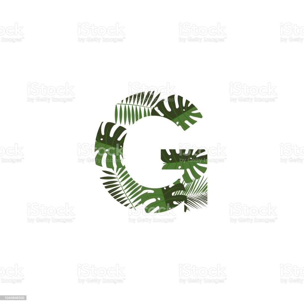 Vector Logo Letter G Tropical Leaves Stock Vector Art More Images