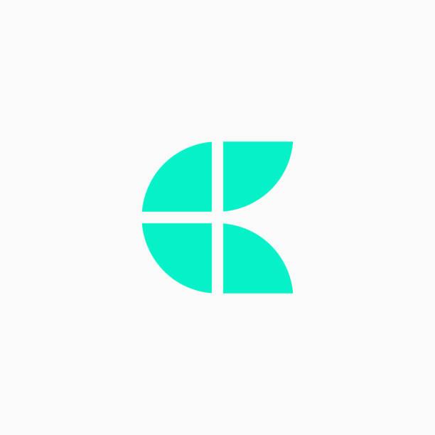 Vector Logo Letter Green Blue Blocks Lowercase C vector art illustration