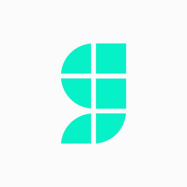 Vector Logo Letter Green Blue Blocks Lowercase G vector art illustration
