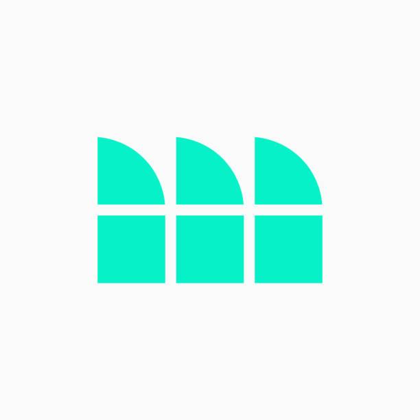 Vector Logo Letter Green Blue Blocks Lowercase M vector art illustration