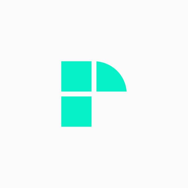 Vector Logo Letter Green Blue Blocks Lowercase R vector art illustration