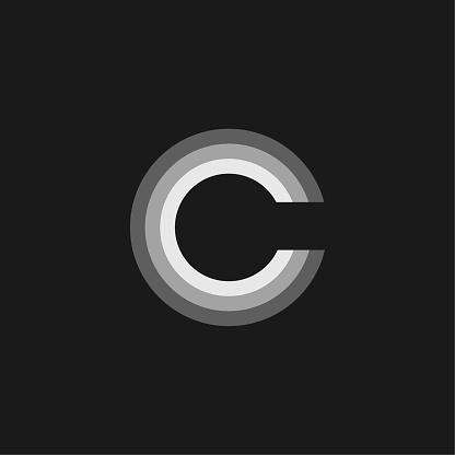 Vector Logo Letter Grey Glowing C