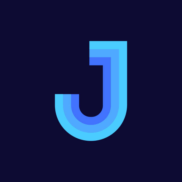 Vector Logo Letter J Blue Glowing Modern Vector Logo Letter J. J Letter Design Vector letter j stock illustrations