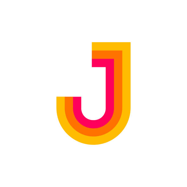 Vector Logo Letter J Red Glowing Modern Vector Logo Letter J. J Letter Design Vector letter j stock illustrations