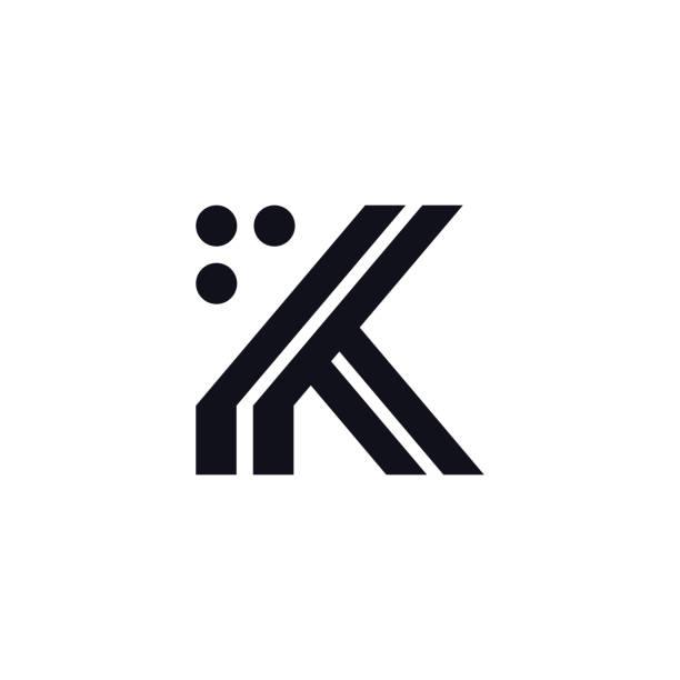 Vector Logo Letter K Black and White Vector Logo Letter K. K Letter Design Vector Stripes Squares and Circles. k logo illustrations stock illustrations