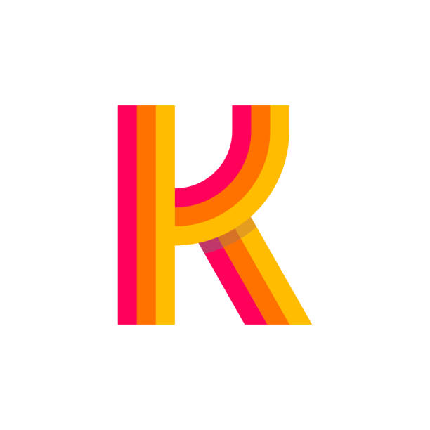 Vector Logo Letter K Red Glowing Modern Vector Logo Letter K. K Letter Design Vector k logo stock illustrations