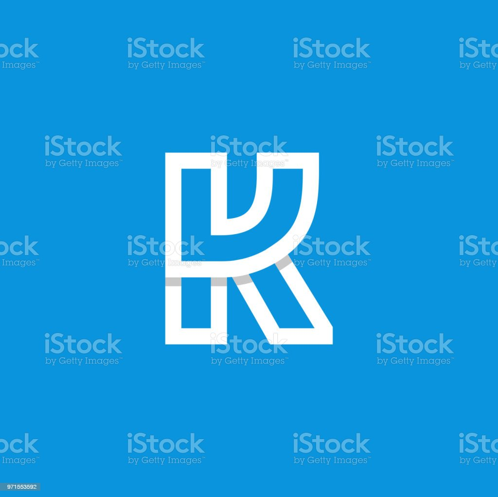 Vector Logo Letter K White Modern Vector Logo Letter K. K Letter Design Vector Abstract stock vector