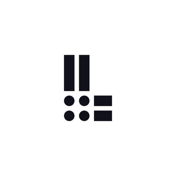 Vector Logo Letter L Black and White Vector Logo Letter L. L Letter Design Vector Stripes Squares and Circles. letter l stock illustrations
