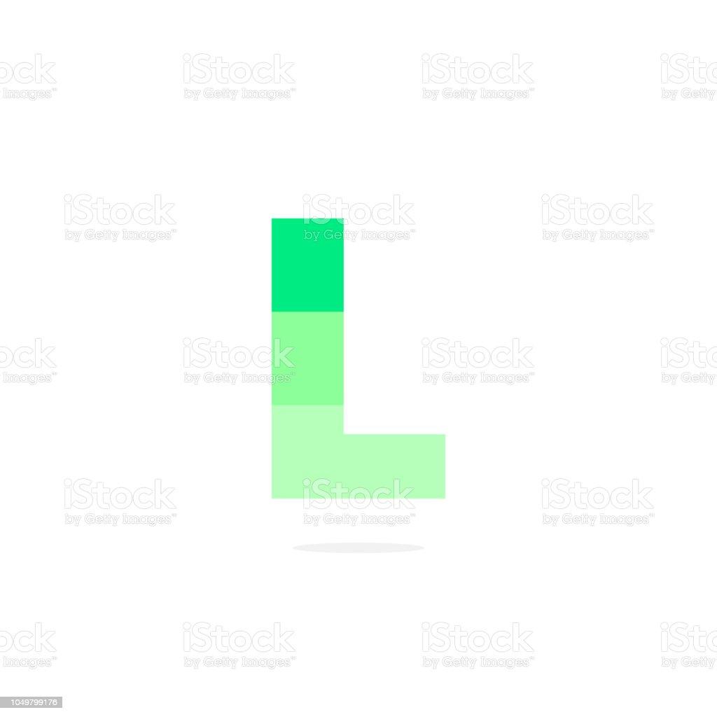 Vector Logo Letter L Green Energy Battery vector art illustration