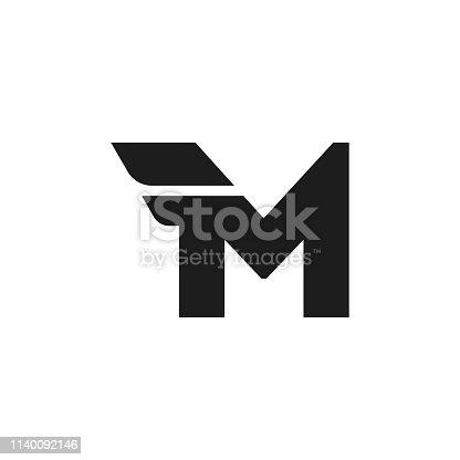 Modern Vector Logo Letter M. M Letter Design Vector Double Wing