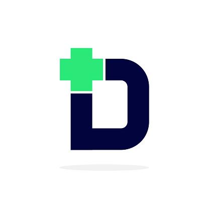 Vector Logo Letter Medical Cross D