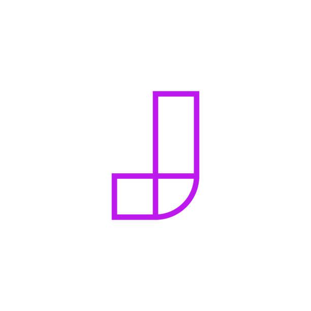 Vector Logo Letter Pink Line J Modern Vector Logo Letter J. J Pink Line Letter Design Vector letter j stock illustrations