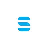 Vector Logo Letter S Blue Stripes