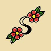 Tattoo Vector Logo Letter S. S Old School Tattoo Letter Design Vector