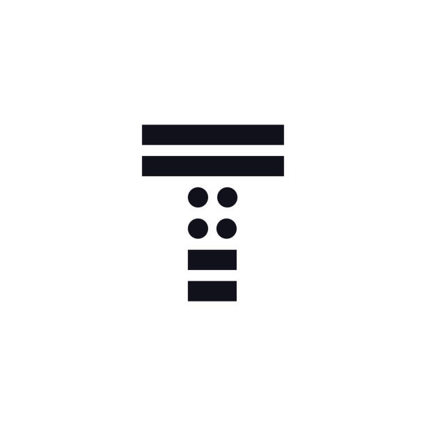 Vector Logo Letter T Black and White Vector Logo Letter T. T Letter Design Vector Stripes Squares and Circles. letter t stock illustrations