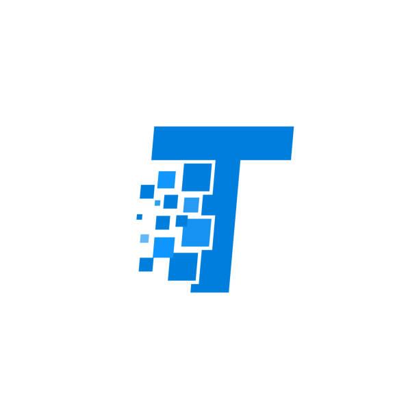 Vector Logo Letter T Blue Blocks Cubes Modern Vector Logo Letter T. T Letter Design Vector letter t stock illustrations