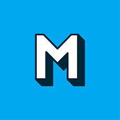 istock Vector Logo Letter White Blue Longshadow M 1265181242