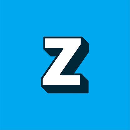 Vector Logo Letter White Blue Longshadow Z
