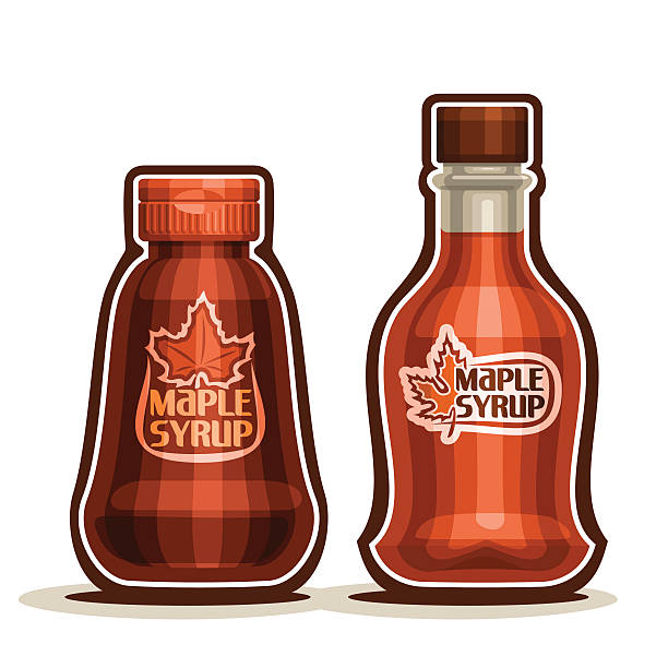 Vector logo Maple Syrup Bottles Vector logo Maple Syrup Bottles, jar sweet maple nectar with plastic cap, souvenir glass bottle canadian syrup with leaf on label, isolated on white background, vermont liquid dessert for breakfast. maple syrup stock illustrations