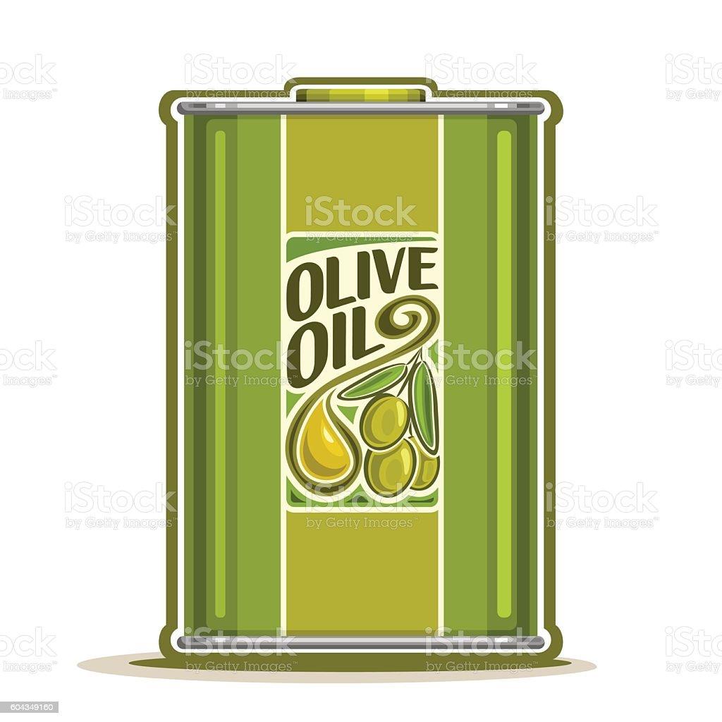 Vector logo metal Bottle with Olive Oil vector art illustration