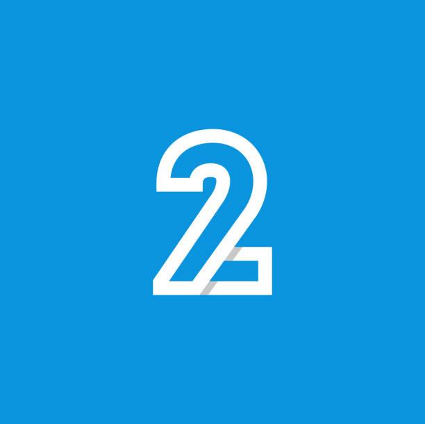 Vector Logo Number 2 White Modern Vector Logo Number 2. 2 Number Design Vector gezond stock illustrations