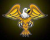 Vector logo of angry eagle spread the wing and claws. Dark background. Sport team logo.